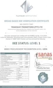 Tradeway BEE Status 2017