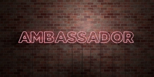 AMBASSADOR - fluorescent Neon tube Sign on brickwork